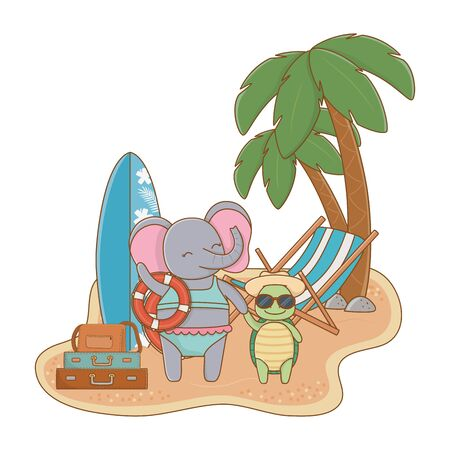 cute animals friends elephant with baby turtle enjoying summer time vacations holidays cartoon vector illustration graphic design