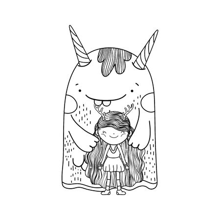 little fairy with monster characters 일러스트