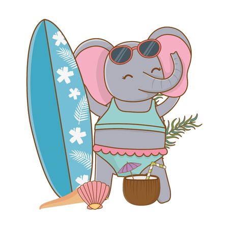 cute animal elephant enjoying summer time vacations holidays cartoon vector illustration graphic design Ilustracja