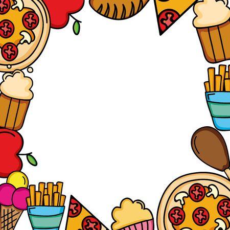 delicious and nutritive food menu frame vector illustration design 일러스트