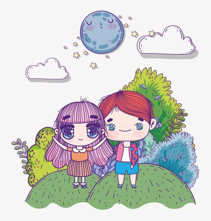 kids, cute little boy and girl anime cartoon hill night moon landscape vector illustration