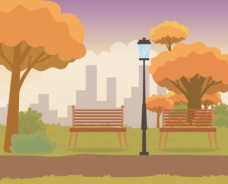 beautiful park with chairs and lamp landscape scene vector illustration design