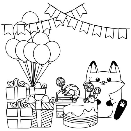 Fox cartoon design, happy birthday celebration decoration party festive and surprise theme Vector illustration