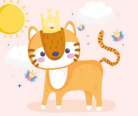 cute animals, little tiger with crown and flying butterflies sunny day