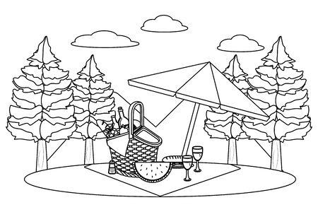 Picnic basket in forest design Ilustrace