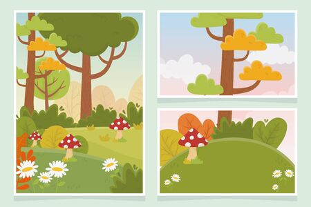 landscape mushroom tree flowers grass nature foliage cards vector illustration