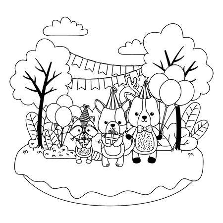 Cartoons design, Animal happy birthday celebration decoration and surprise theme Vector illustration Stock Vector - 138980523