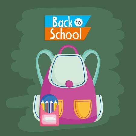 Retour à l'éducation scolaire sac à dos et boîte avec illustration vectorielle de crayons de couleur