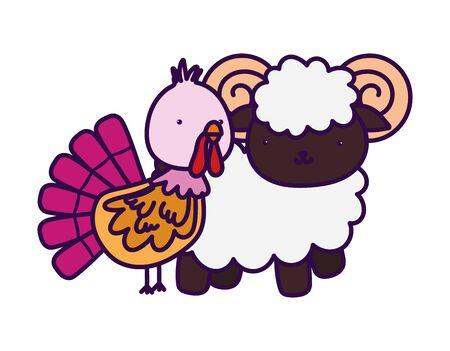 ram and turkey farm animal cartoon vector illustration