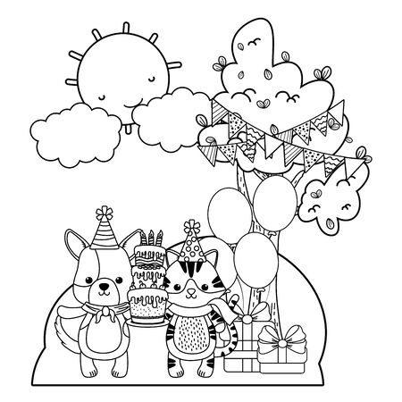 Cat and dog cartoon design, Animal happy birthday celebration decoration and surprise theme Vector illustration Stock Vector - 138594553