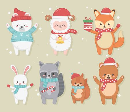 happy merry christmas card with group of animals vector illustration design