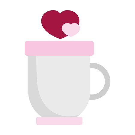 happy valentines day, coffee cup hearts love vector illustration