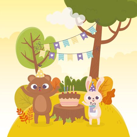 cute bear and rabbit with party hats gift cake forest animals celebration happy day vector illustration