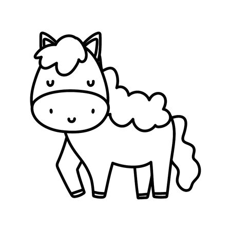 cute horse livestock farm animal cartoon vector illustration thick line