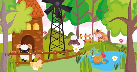 bull goat sheep hen ducks in lake windmill farm animals vector illustration