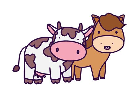 horse and cow farm animal cartoon vector illustration