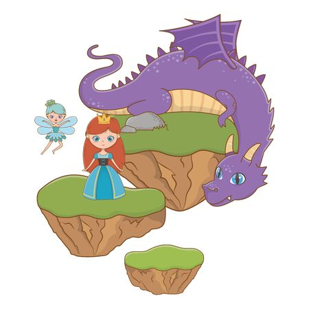 Princess fairy and dragon design, Fairytale history medieval fantasy kingdom tale game and story theme Vector illustration