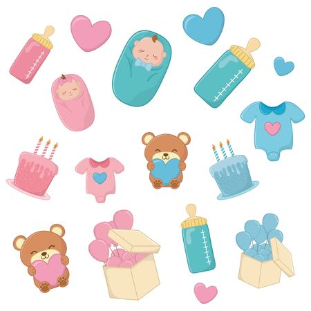 set of baby elements in blue and pink with hearts, candles, cake, feeding bottle, baby clothes, box with balloons, toy bear hugging heart and sheltered baby vector illustration graphic design