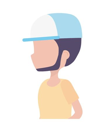 side view young man portrait character on white background vector illustration
