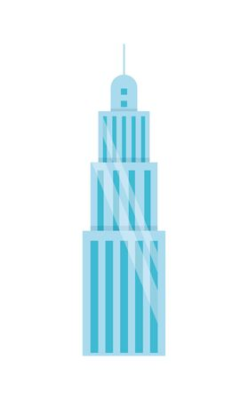 urban building tower skyscraper antenna icon on white background vector illustration