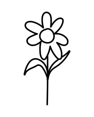 flower stem leaves foliage decoration icon vector illustration thick line Illusztráció