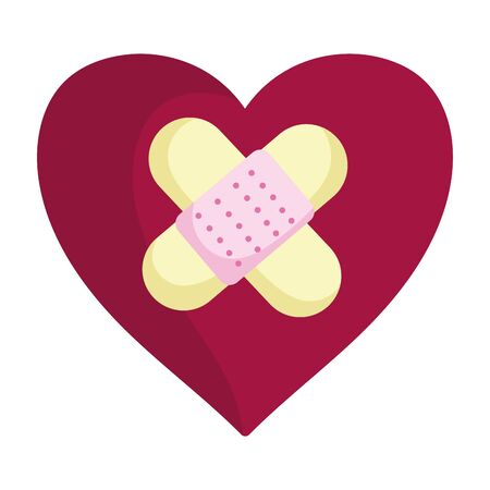 happy valentines day, heart love sad bandage aid