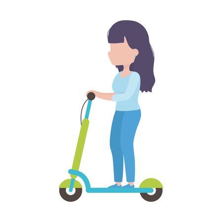 mujer joven, equitación, patineta eléctrica, transporte