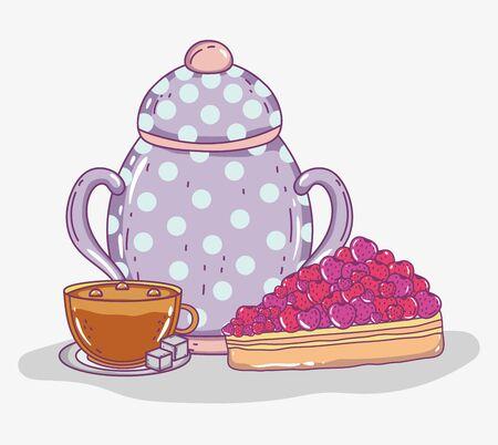 cake kettle and caup with sugar tea time sketch flat design vector illustration Illustration
