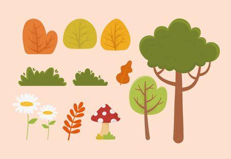 nature foliage tree flower mushroom leaf bush vegetation icons vector illustration Illusztráció