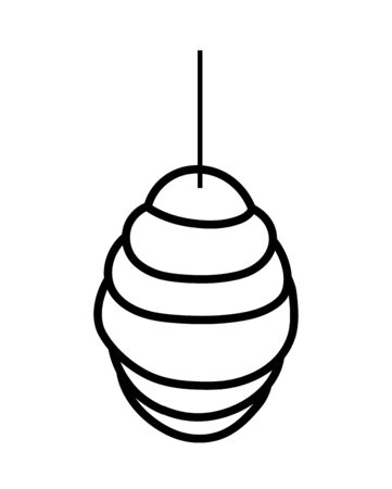 hanging honeycomb hive icon design vector illustration thick line