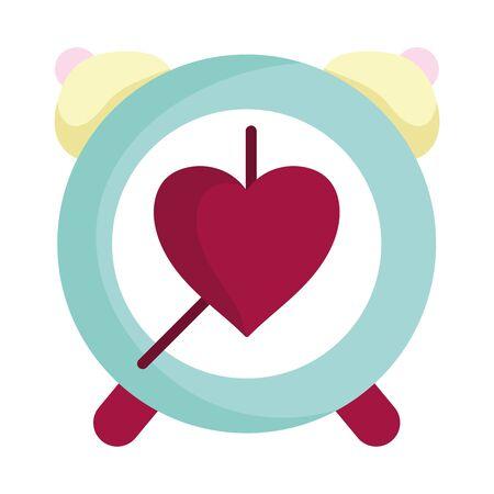 happy valentines day, alarm clock time heart love romance vector illustration Ilustrace
