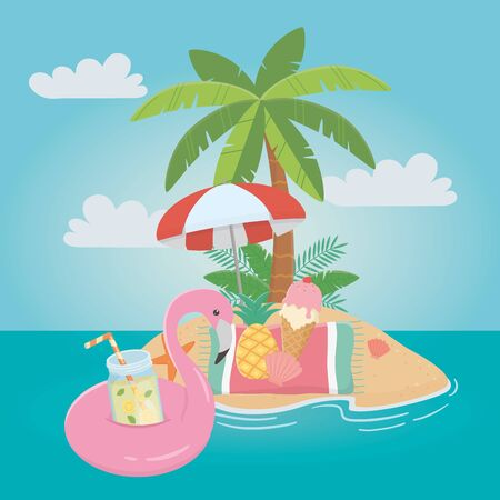 Flamingo float and summer icon set design, Vacation beach tropical relaxation outdoor nature tourism island and season theme Vector illustration Ilustrace