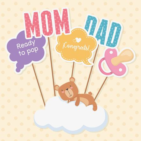 baby shower card with little bear teddy in cloud vector illustration design