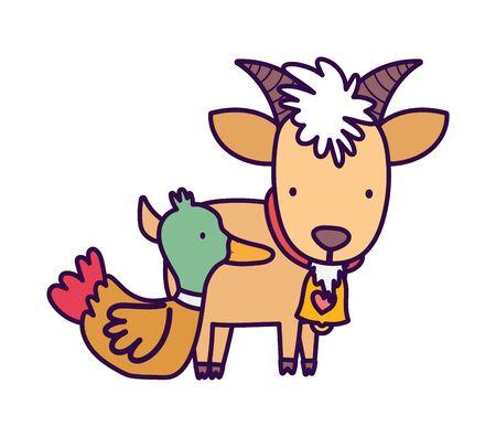 goat with bell duck farm animal cartoon vector illustration Vettoriali