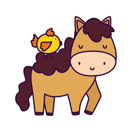 chicken on horse farm animal cartoon vector illustration