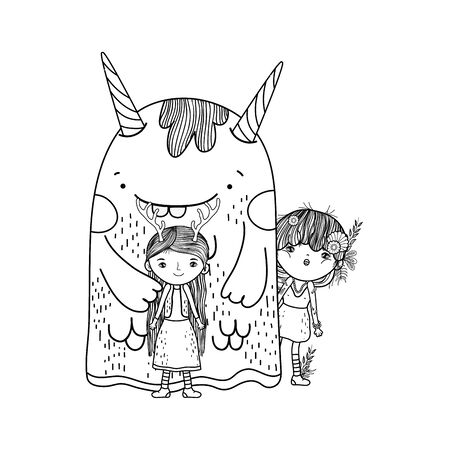 cute little fairies couple with monster