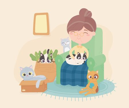 old woman sitting in chair with her cat and others playing room vector illustration