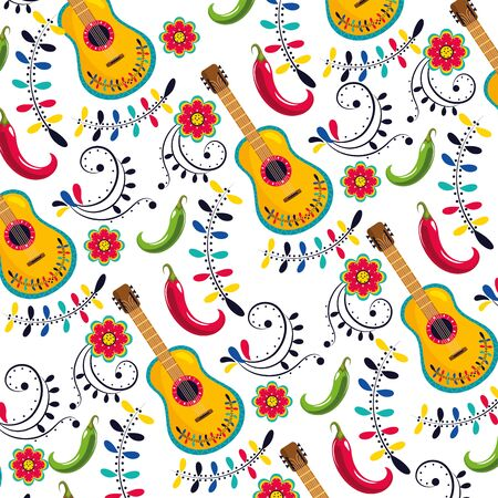 mexican guitar with flowers decoration background vector illustration