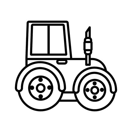 tractor truck smoke machine work farm icon vector illustration thick line