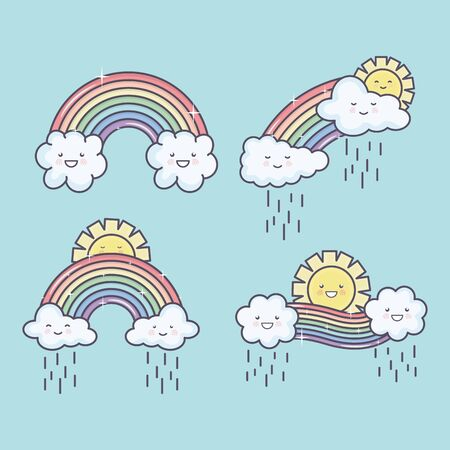 cute summer sun and clouds rainy with rainbow kawaii characters illustration design Illustration
