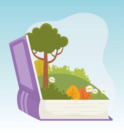 childrens tale book landscape tree flowers grass foliage vector illustration Foto de archivo - 138595226
