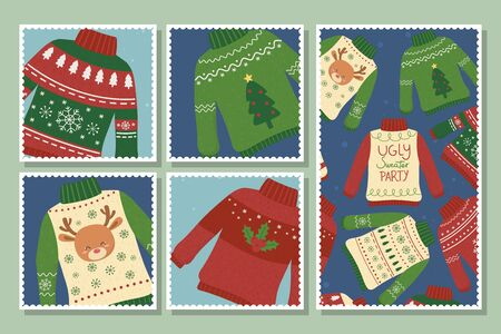 christmas ugly sweaters party postcards collection vector illustration Ilustração