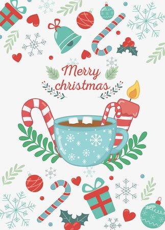 chocolate cup marshmallow candle candy cane bells canes decoration merry christmas card vector illustration