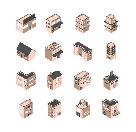 building isometric style icons set
