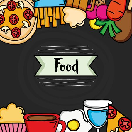 delicious food frame border icons