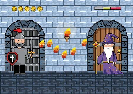 Arcade game world and pixel scene design Illusztráció