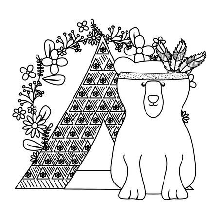 bear grizzly with feathers hat in tent bohemian style 일러스트