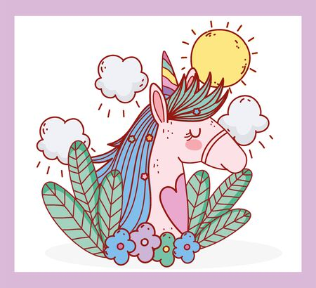 unicorn flowers leaves sunny day fantasy magic cartoon