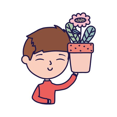 smiling young man holding flower in pot portrait