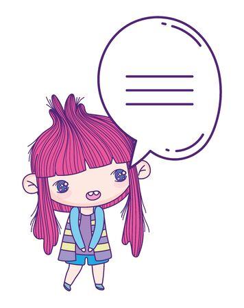kids, little girl anime cartoon speech bubble